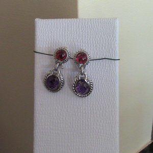 Judith Ripka Silver Garnet Amethyst drop earrings